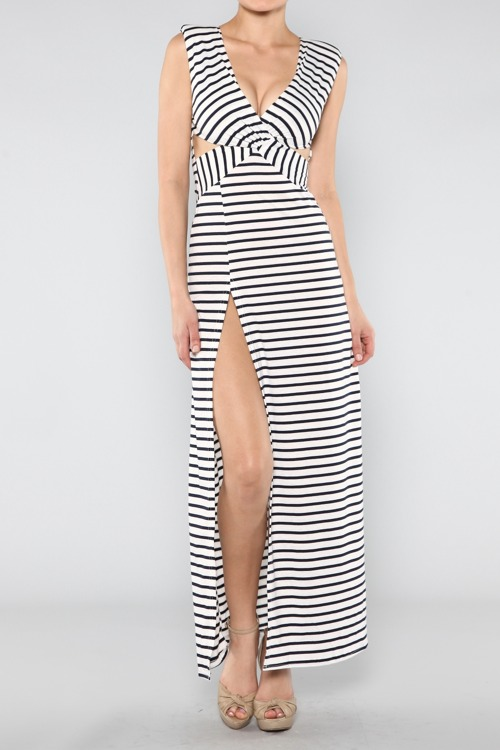 Pin-up Girl's Striped Maxi Dress-