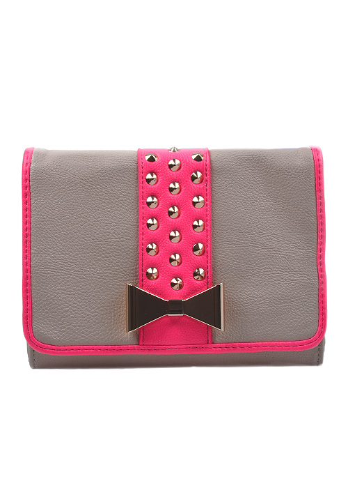 Hot Pink Bow Studded Cross Body Bag-