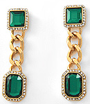 Emerald Chain Link Earring Set-
