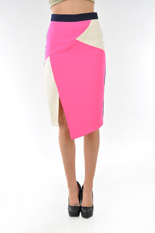 Sexy Highwaisted Color Block  Skirt-