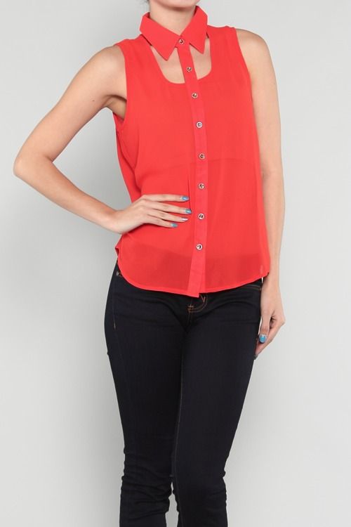 Cut Out Collar Top-