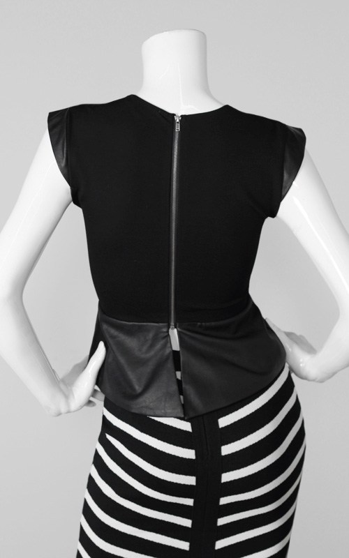 Miss D's Risque Plunging Leather Top-