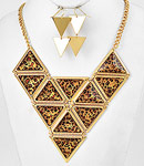 Leopard Triangle Necklace Set-