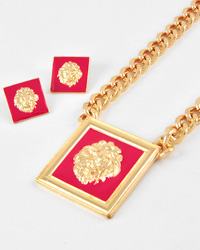 Lion Sqaure Pendant And Chunky Necklace Set-