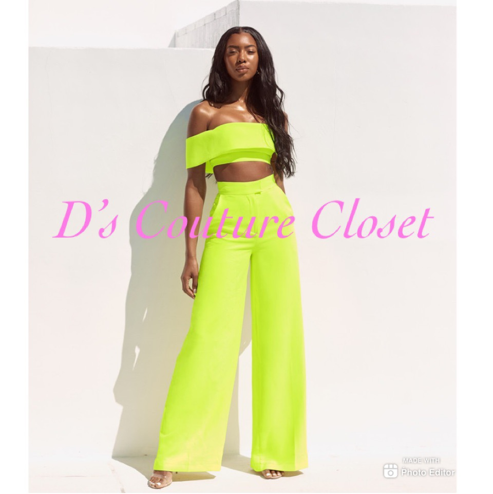 Neon Bella Off The Shoulder Pants Set-