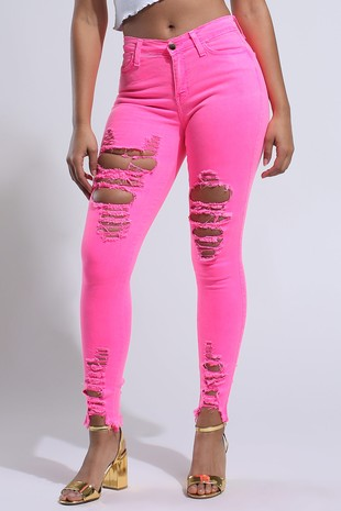 Kylie Neon Lime Distressed Skinny Jeans-