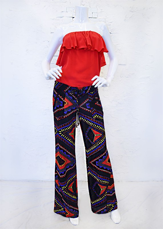 Tribal Print Silk Wide Leg Pant-