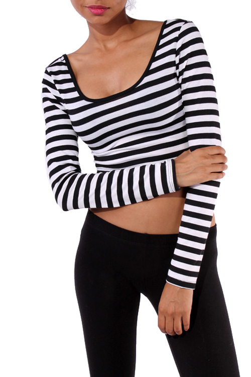 Black and White Crop Top-