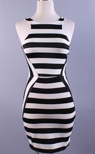 Very Black and White Striped Dress-