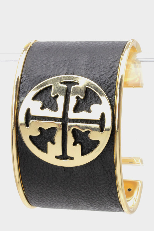 Leather Monogram Cuff-