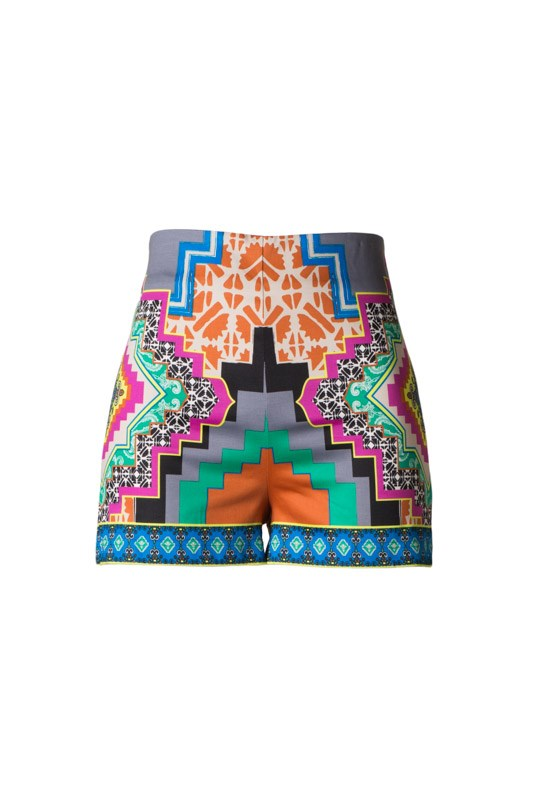 High-Waisted Tribal Gray Printed Shorts